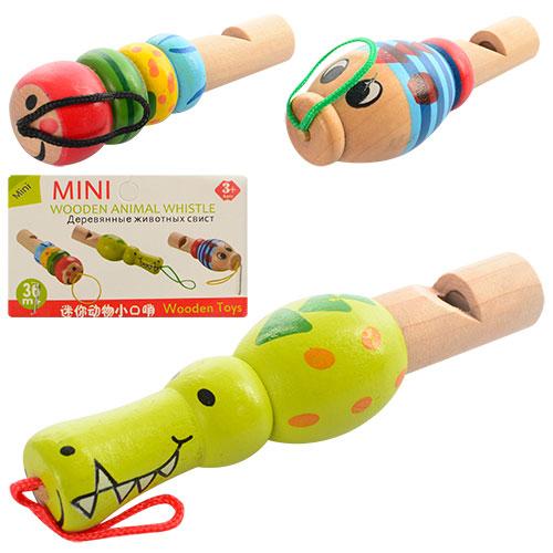 Деревянная игрушка Свисток MD 0951  от 8, 5см,  3 вида,  в кульке,  10-12-2см