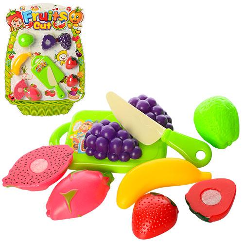 Продукты 681-4 (72шт) на липучке,  фрукты,  нож,  досточка,  на листе,  43-31-4см