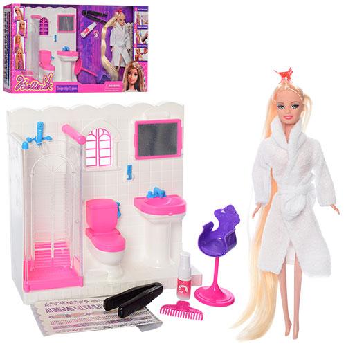 Мебель 68027 (6шт) ванная комната, кукла29см(длин.волосы), краска для волос, аксесс, в кор, 60-33-11см