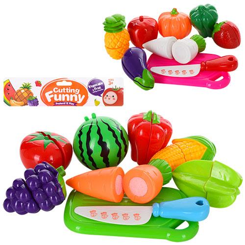 Продукти 6307-6309 на липучці (фрукти,  овочі),  4 шт.,  дощечка,  ніж,  2 види,  кул.,  23-22-5 см.