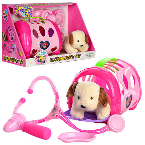 Собачка 633  набор доктора(стетоскоп, лоток, молоточек), собачка 15см, чемодан, в кор, 34-22-16, 5см