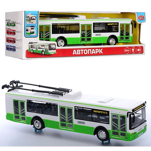 Тролейбус 9690A інерц.,  гумові колеса,  відчин. двері,  муз.,  світло,  бат. (табл.),  кор.,  33-10-9, 5 см