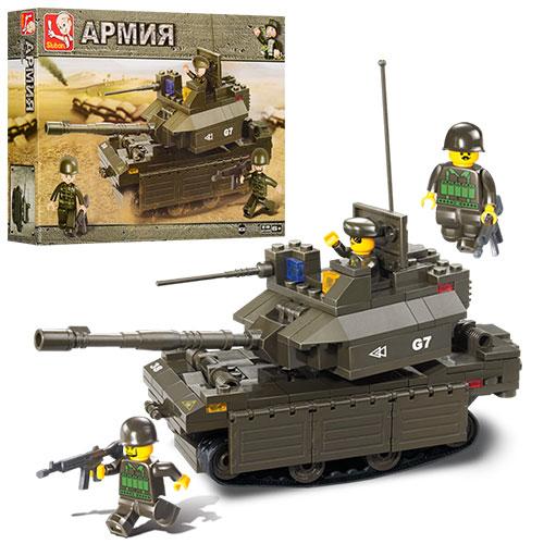 Конструктор SLUBAN M38-B0287  армия,  танк,  фигурка,  219дет,  в кор-ке,  33-24-6см