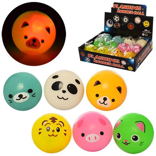 М'яч дитячий MS 1156 тварини,  12 шт. (6 видів) в диспл.,  світло,  кул.,  бат. (таб.),  22, 5-18-6 см.